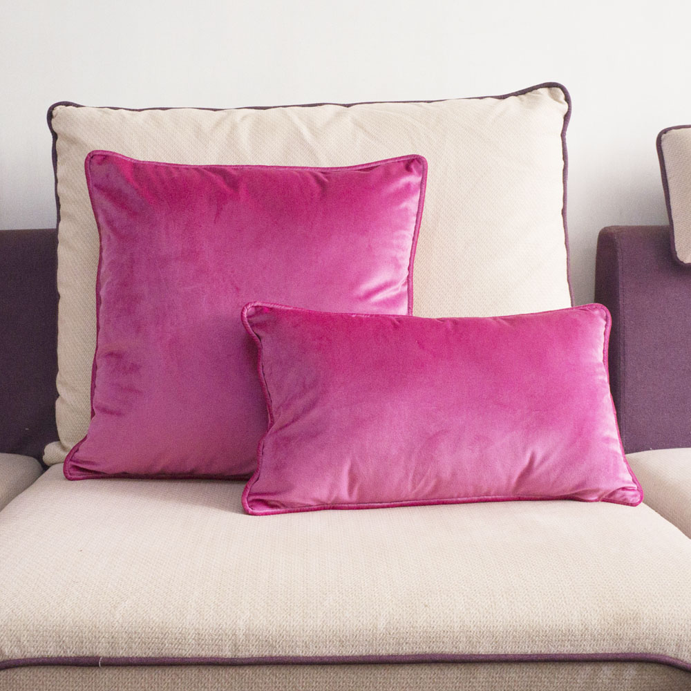 Us 8 63 20 Off Piping Design Bright Pink Velvet Cushion Cover Lovely Quality Pillow Case No Balling Up Waist Without Stuffing In