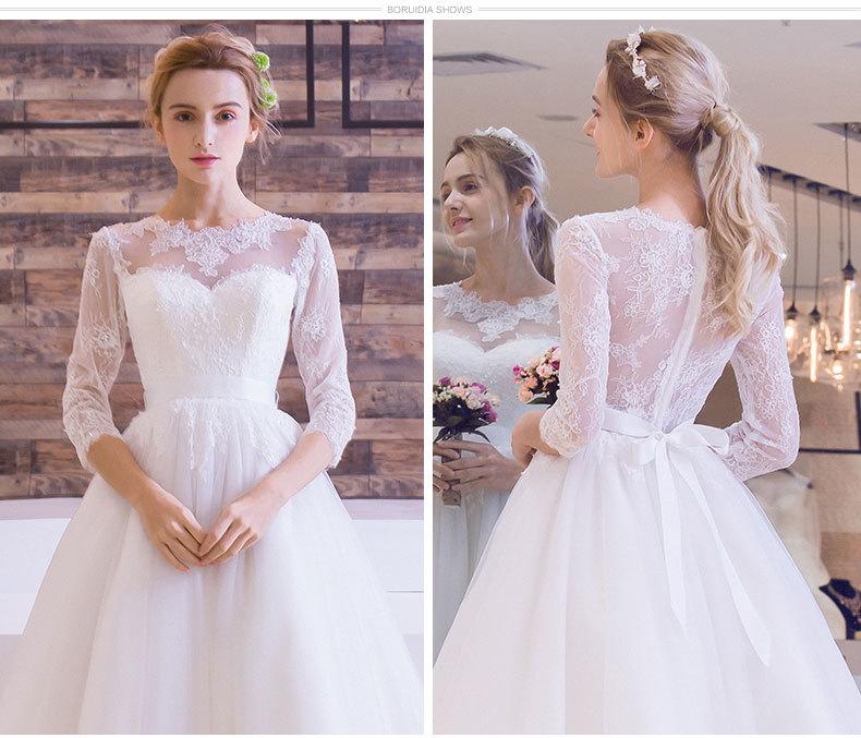 Tea-length Three Quarter Sleeve Illusion Lace Wedding Dress