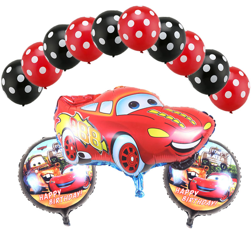 13 pcs Cartoon Car Lightning Mcqueen Foil Helium Balloons 18 inch round car balloon Dot latex kid toys Birthday Party Decor