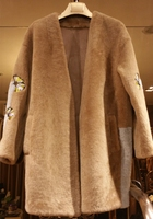 arlene sain custom The new women's wear fur A fur coat Iris color is the original color of camel free shipping 275