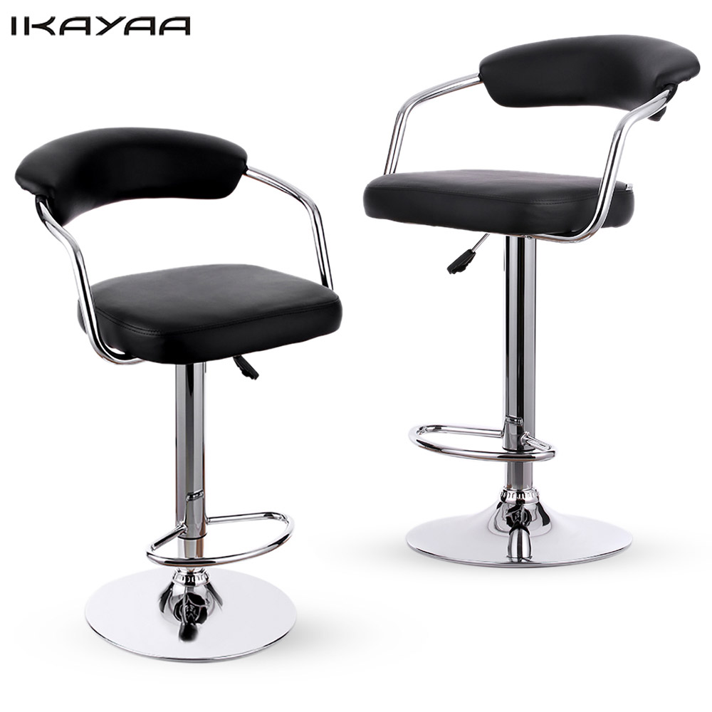 Ikayaa 2pcs bar chairs pneumatic height adjustable swivel for Furniture 2 u