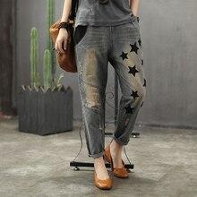 Женские модные брендовые винтажные рваные джинсы в Корейском стиле с вышивкой в виде звезд и букв, джинсовые штаны с эластичной резинкой на талии