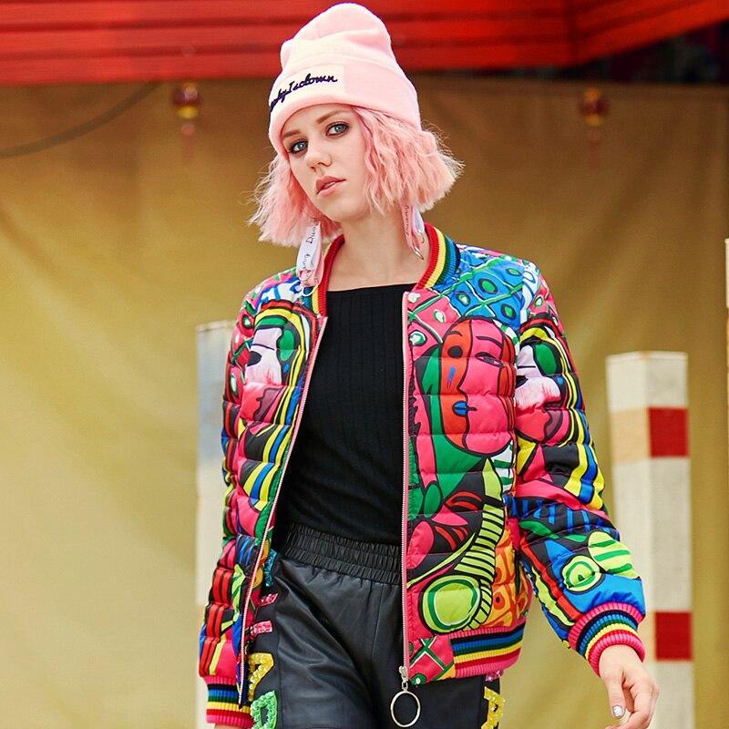 De Coat Dessinée Bande Veste Down Dessin D'hiver Rouge Court Bas Coloré Manteau Animé Vers Impression Femmes Le 2018 Dames Cartoon Hxwxq
