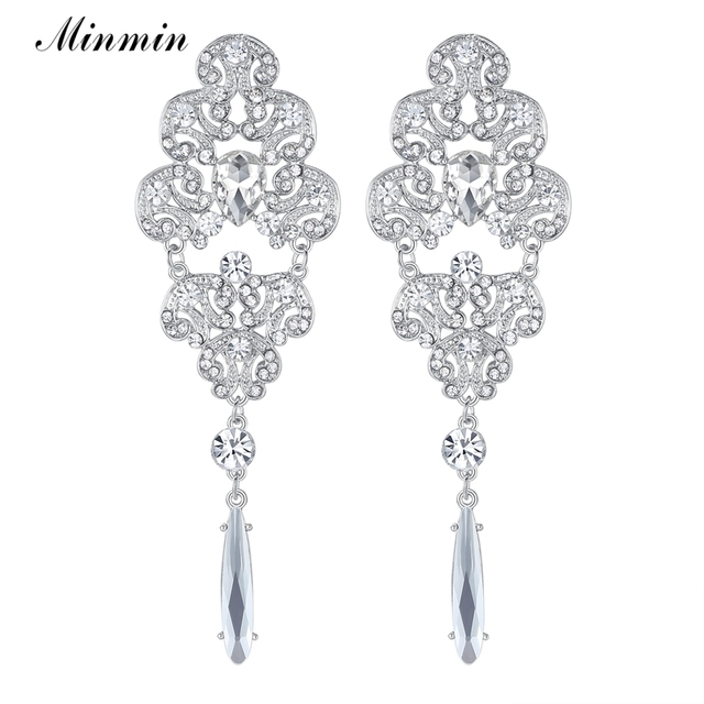 Minmin bohemia style big silver color crystal long drop earrings for minmin bohemia style big silver color crystal long drop earrings for women chandelier rhinestone wedding earrings aloadofball Gallery