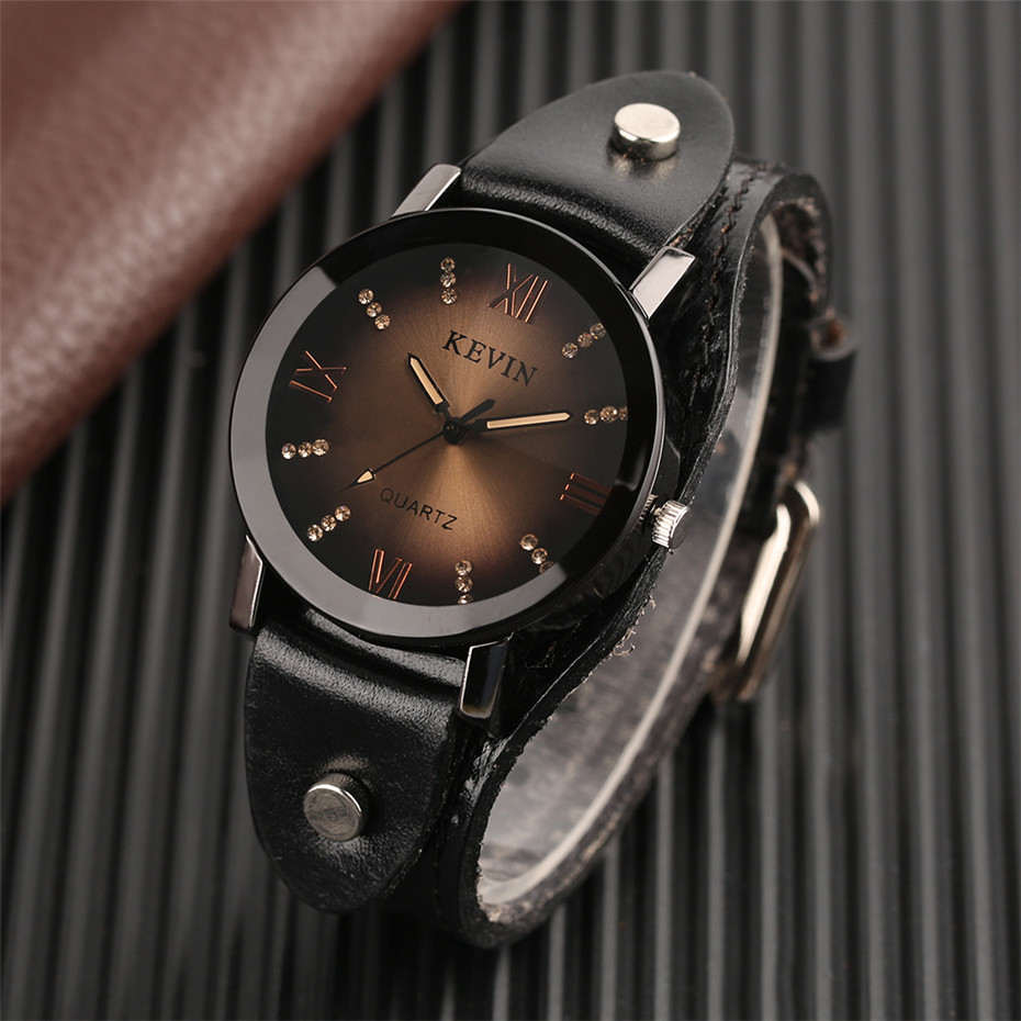 KEVIN Steampunk Style Creative Watches Leather Strap Crystal Rock Punk Quartz Wrist Watch Men Casual Male Clock Gift