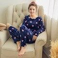 2016 modelos de otoño e invierno de franela y el invierno de terciopelo lindo pequeño corazón del melocotón mujeres pijamas conjuntos de servicio a domicilio trajes