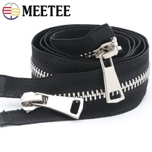 Meetee 8# 70/80/100/120cm Double Open End Metal Black Zipper Clothing Jacket Coat Outdoor DIY Sewing Accessories AP494