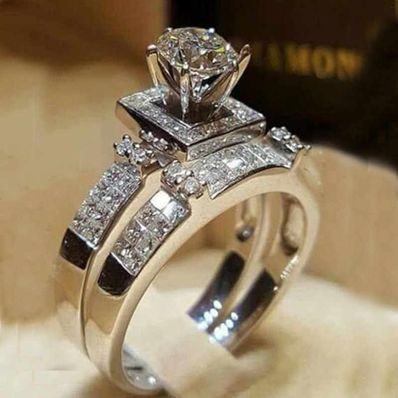 2019 Elegant Wedding Engagement Pair Rings Set 2PCS Silver Color Anniversary Accessories With Full Shiny Zircon Stones Jewelry