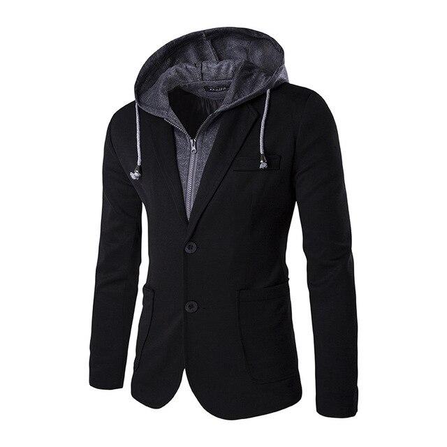 2016 Зима мужская одежда повседневная Slim Fit костюм С Капюшоном пальто мужская мода Дизайн Поддельные два пиджак высокой качество