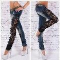 Новая осень и зима женская сексуальность кружева шить джинсовые брюки карандаш девушку мода выдолбите стовепайп джинсы продается