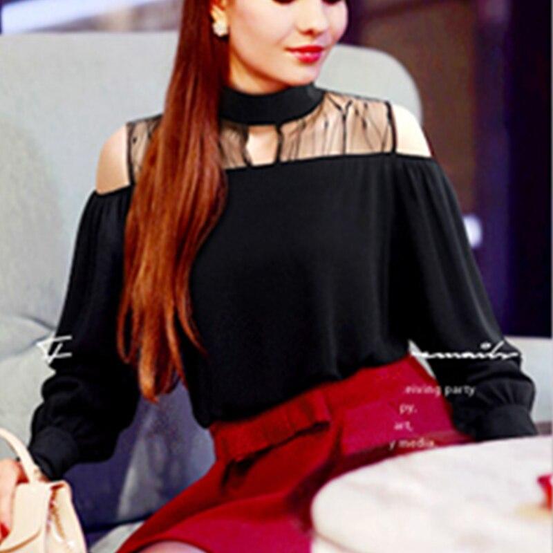 turtleneck transparent mesh open shoulder summer t shirt plus size 5xl long sleeve 2019 sexy top oversized vintage tunic button