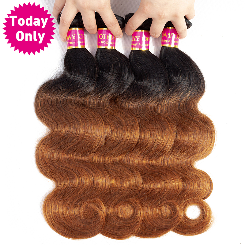 [TODAY ONLY] 4 Bundles Deals Malaysian Body Wave Bundles Remy Hair Extensions Ombre Human Hair Bundles 1b 30 Human Hair Weave