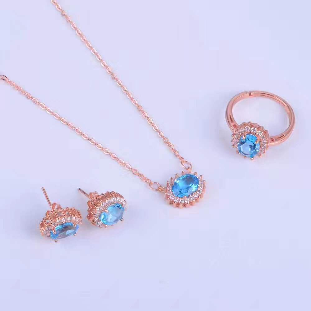 KJJEAXCMY boutique jewels 925 sterling silver inlaid with blue topaz ring + pendant + earrings necklace with silver gold color. - 2