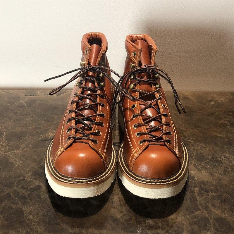 Ayakk.'ten Motosiklet çizmeleri'de Erkekler Bahar Kış rahat ayakkabılar Yuvarlak Ayak Hakiki Deri iş çizmeleri Goodyear Kaynaklı Vintage Askeri 2019 Yeni'da  Grup 3