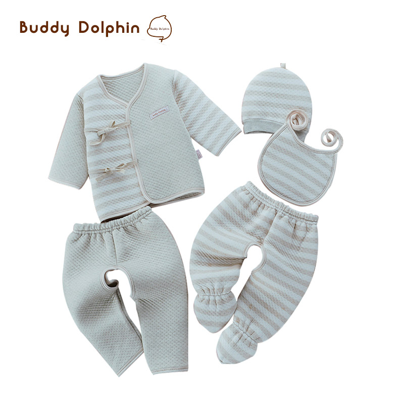 5pcs/set 2017 Newborn Baby Clothes 100% Natural Colored Cotton Striped Belt Thick Warm Infant Clothing Sets For 0-6M Baby