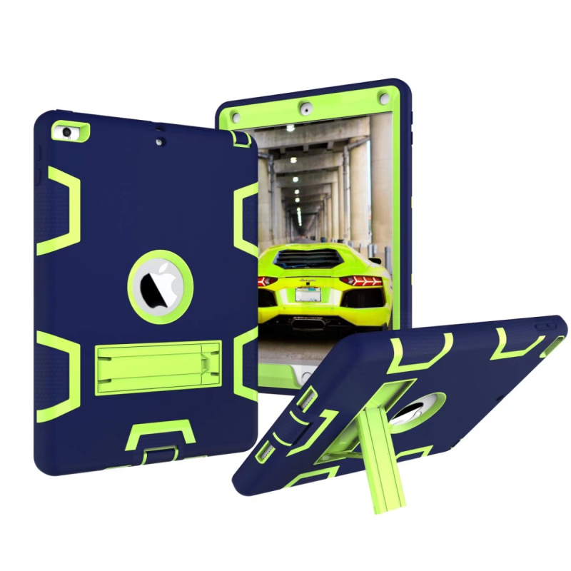 For New iPad 2017 9.7 Rubber Shockproof Case Rugged Impact Silicone PC Hybrid Armor Cases Tablet Stand Cover for iPad 9.7 2017 shockproof hybrid heavy duty stand tablet case hard back cover rugged rubber armor pc tpu for ipad 9 7 inch 2017 a1822 a1823