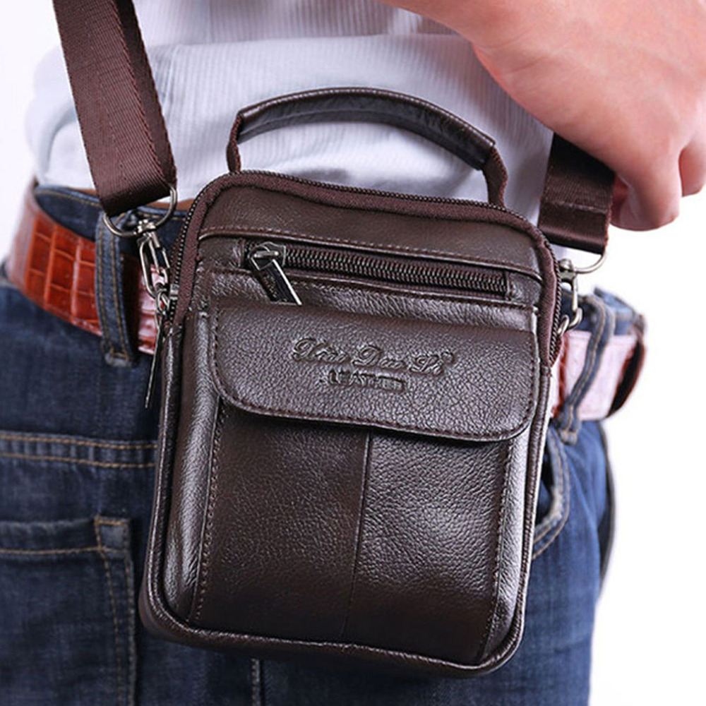 Men's Cowhide Genuine Leather Messenger Shoulder Cross Body Bag Pouch Waist Fanny Belt Hip Bum Male Tote HandBag Purse Handbags universal waist belt bag pouch outdoor tactical holster military molle hip purse phone case