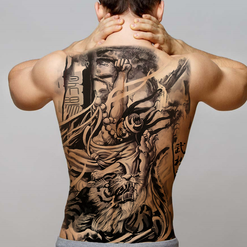 Big Black Tiger Tattoos Fake Men Wolf Dragon Tatoo Waterproof Large Beast Monster Body Back Tattoos Temporary Paper Tattoo Big