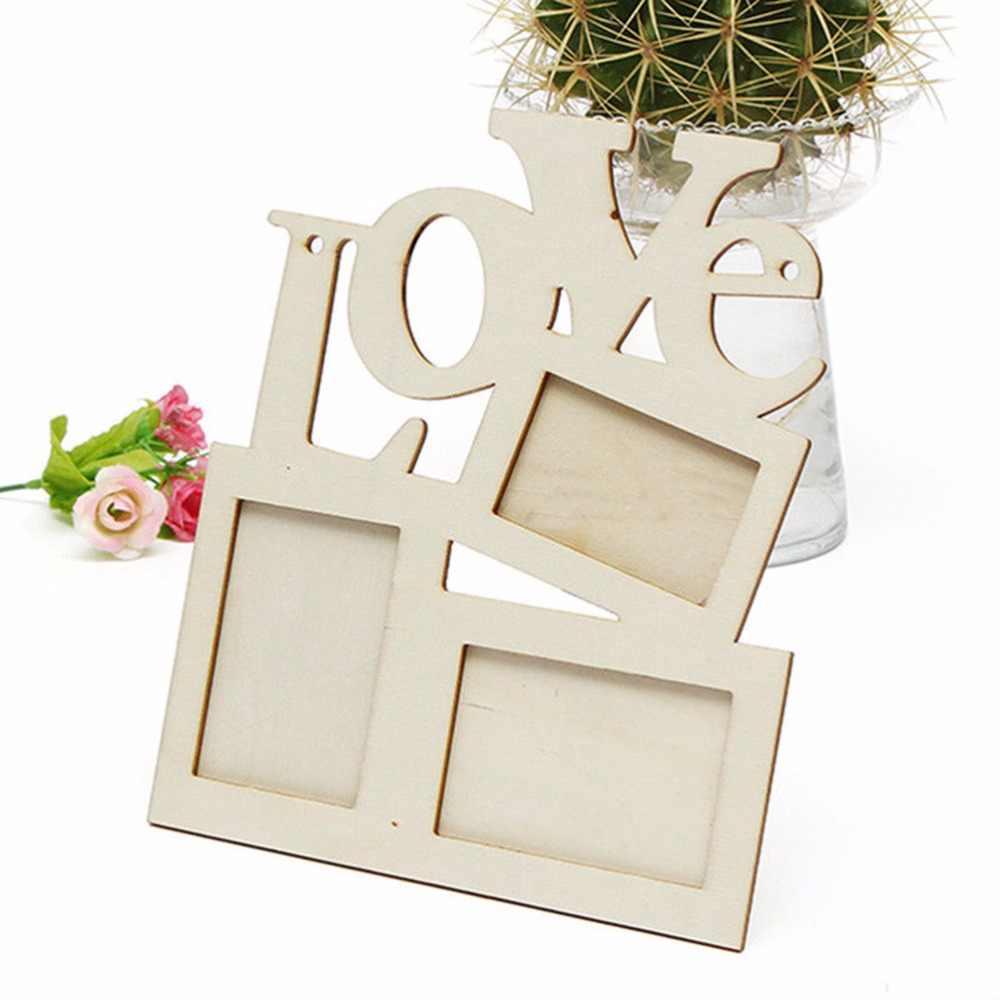 1x الجوف الحب خشبية الأسرة إطار صور الحب صور ديكور للمنزل سهل التركيب