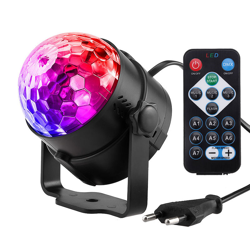 Sound Activated Rotating Disco Ball Party Lights Strobe Light 3W RGB LED Stage Lights For Christmas Home KTV Xmas Wedding ShowSound Activated Rotating Disco Ball Party Lights Strobe Light 3W RGB LED Stage Lights For Christmas Home KTV Xmas Wedding Show