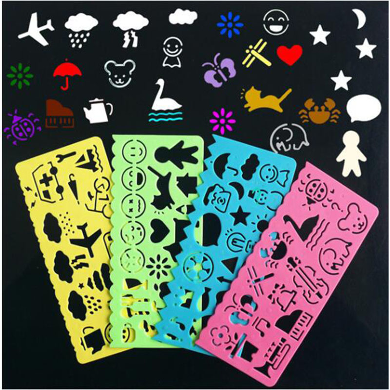 4Pcs Plastic Drawing Template Stencil Ruler Drawing Toys For Kids 2018 New Doodle Art Drawing Toys Painting Stamps For Scrapbook