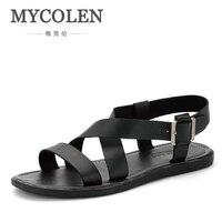 MYCOLEN Rome Style Cozy Men Sandals High Quality New Design Summer Casual Shoes Fashion Flat Man Sandals Black Sandals Men