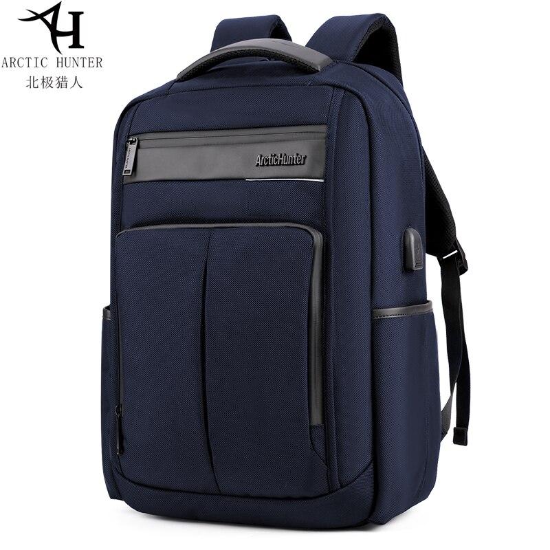 Sac à dos pour ordinateur portable arctique Hunter Smart pour hommes bleu foncé chargement USB Style décontracté résistant à l'eau sacs à dos multifonctions B00121