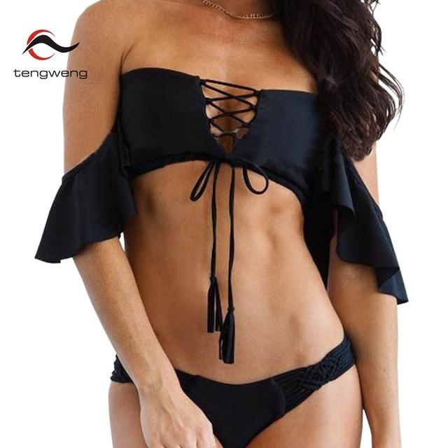 Tengweng 2019 Sexy Off shoulder Ruffle Bikini Blue Push up Women Swimwear Thong Bandeau Swimsuit Brazilian Female Bathing suit