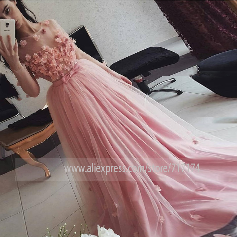 Gorgeous Pink Long Sleeves Prom Dress 3D Flowers Illusion Tulle Fomal Evening Dresses Custom Princess Special Event Gowns