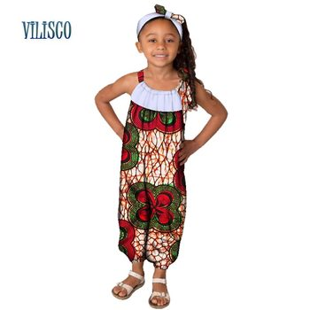 58a7f4fd75 Casual 100% Cotton Children Clothes Jumpsuit with Head Tie African Clothing  Patchwork Print Girl Kids Child Baby Jumpsuit WYT177
