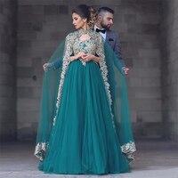 Muslim Long Gold Lace Formal Evening Party Dress Capes Turkish Arabic Moroccan Kaftan Evening Gowns Dresses Vestido Elegante