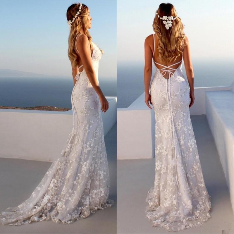 LORIE Glamorous Spaghetti Strap Beach Wedding Dress  2019 Sleeveless Backless Lace Appliques Mermaid Bridal Gowns Plus Size