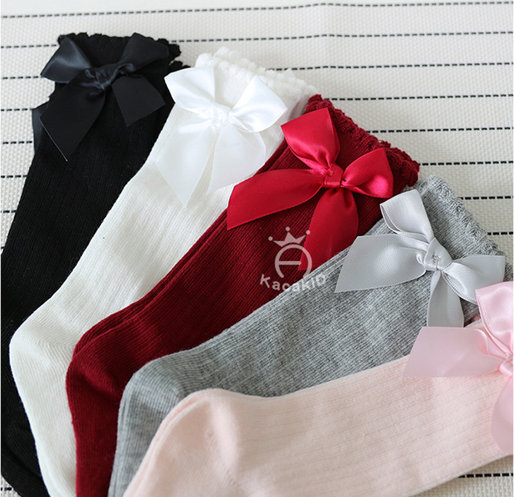 Combed Cotton Baby Socks Bow Lace Meia Baby Girls Socks Knee High Kids Infant Anti Slip Leg Warmers Socks Sweet Princess Socks