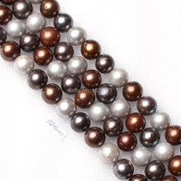 High Quality 10 5 11mm Natural Mixed Freshwater Pearl Nearly Round Loose Beads Strand 15 5