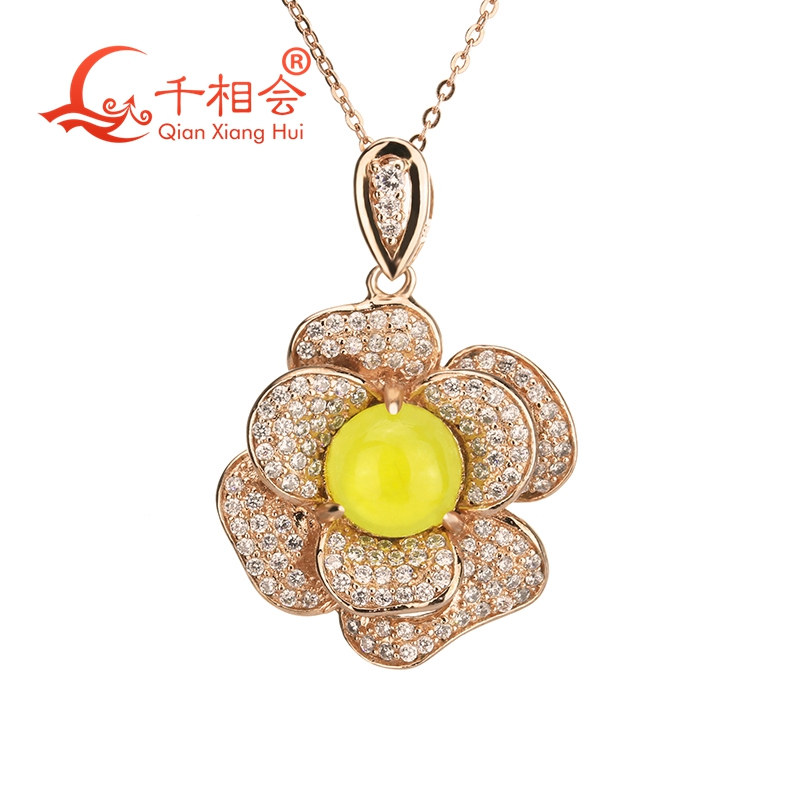 Flower shape plated rose gold pendant necklace jewelry alloy rose flower pendant necklace