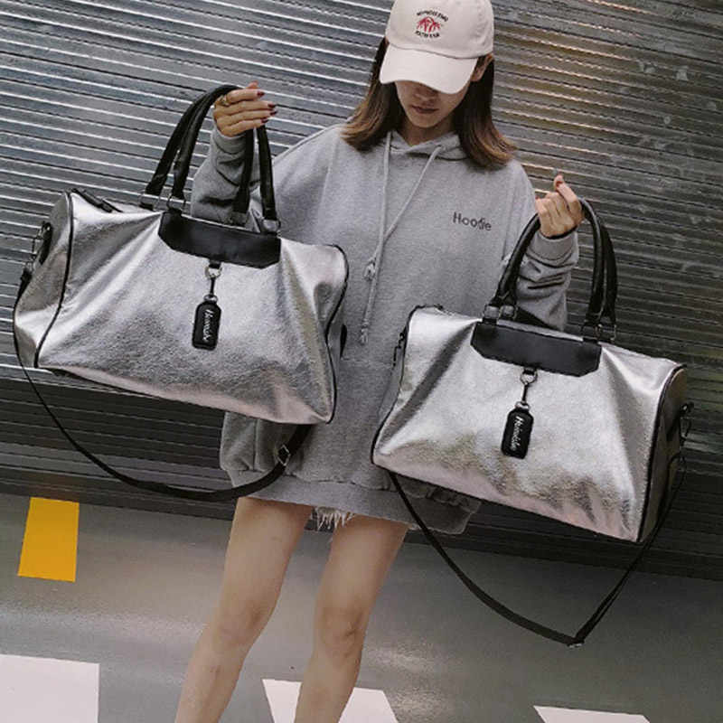 21bd523623fc ... Silver Sports Bag Lady Luggage Bag in Travel Bags with Tag Duffel Gym  Bag Leather Women