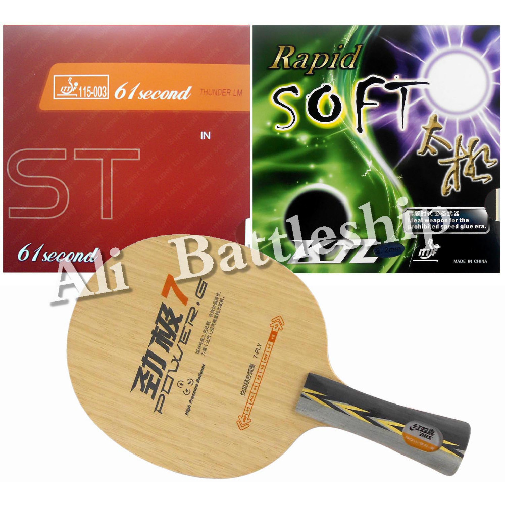 Original DHS POWER.G7 PG7 blade+61second LM ST and KTL Rapid-Soft rubber with sponge for table tennis racket Long Shakehand FL original yinhe defensive 980 table tennis blade with 61second ds lst and lm st rubbers sponge a racket shakehand long handle fl