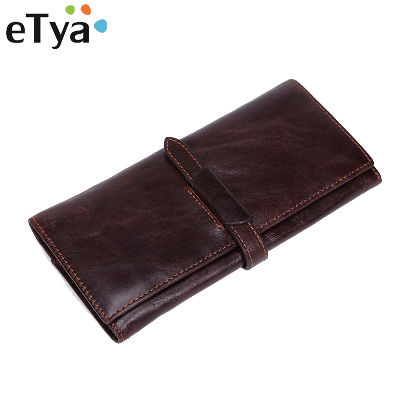 Genuine Leather Men Wallet Fashion Vintage Women Long Wallets Men Multi-card bit Zipper Purse Coin Business Male Clutch bag