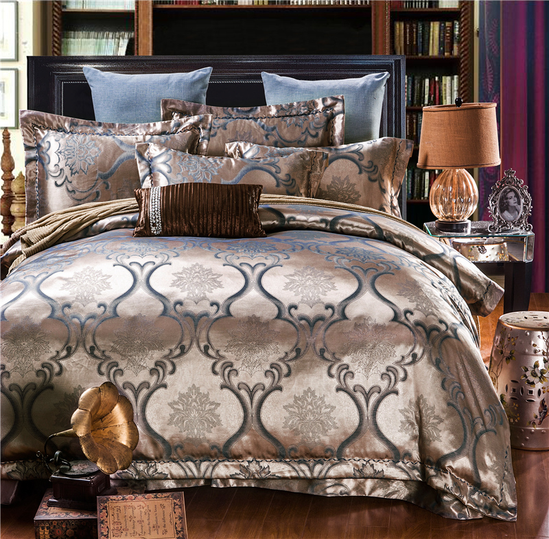 New Silk Cotton Satin Luxury large Jacquard Bedding Set Classic bedclothes Duvet cover Bed sheet Pillow