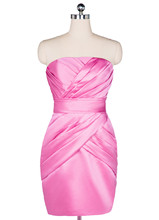 100% echt Bild Kurze Formale Cocktailkleider Satin Rosa Satin 2016 vestidos madre de la novia vestido de madrinha