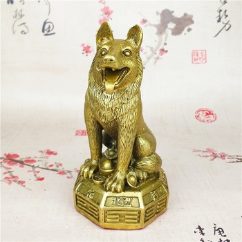 Collection Chinese Fengshui Bronze Zodiac Lovable Animal Dog Money Coin Wealth Statue