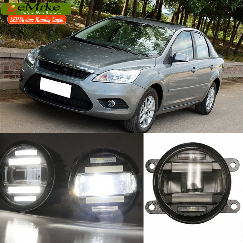 eeMrke Car Styling For Ford Focus 2 3 2009-2014 2 in 1 LED Fog Light Lamp DRL With Lens Daytime Running Lights eemrke car styling for opel zafira opc 2005 2011 2 in 1 led fog light lamp drl with lens daytime running lights
