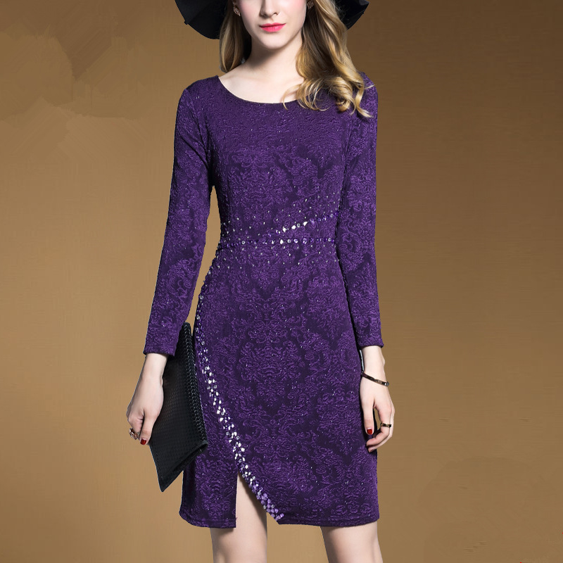 Beaded Package Slim Elegant Casual Woman Dress Plus Size Sexy Long Sleeve Dress Fashion Women Clothing Brief Knee-length O-neck