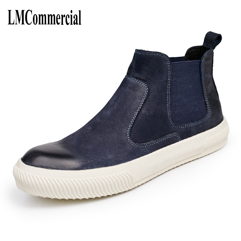 Leather shoes high 2017 autumn and winter men's casual shoes boots men boots retro trend round sleeve all-match fashion shoes 2017 new autumn winter british retro men shoes high zipper leather shoes fashion boots men casual shoes handmade fashion