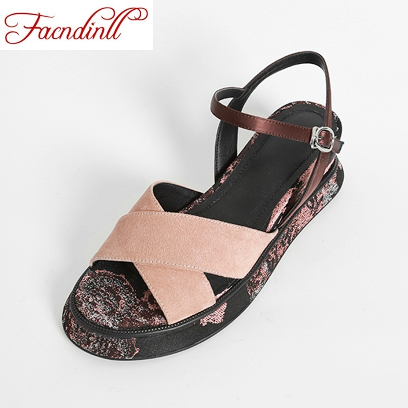 FACNDINLL 2018 new fashion summer genuine leather women sandals wedges high heels peep toe shoes woman dress party casual sandal facndinll new women summer sandals 2018 ladies summer wedges high heel fashion casual leather sandals platform date party shoes