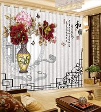 Fashion Customized Classic Home Decor Pattern, Background Vase, Peony 3D Curtains For Living Room Blackout Curtain Fabric(China)