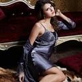 XIFENNI Marca Sets Robe de Mulheres Sexy Cetim De Seda Roupão de Banho Longo-Luva do Bordado Rendas Sleepwear Cinza Escuro Two-Piece camisolas 9223
