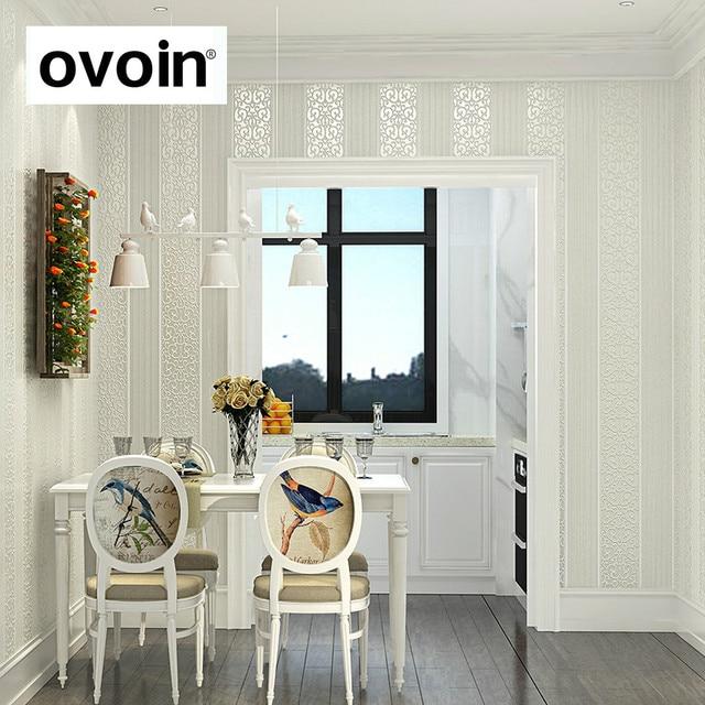 Blanc/Jaune/Beige/Rose/Brown Shimmer Damassé Rayé papier peint pour ...