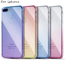 Perciron Case Gradient Color TPU for iPhone 6 6S 7 Plus Transparent Soft Back Protect Cover 8 X Anti Slip