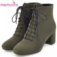 Memunia ارتفاع كعوب أحذية امرأة في s pring الخريف الكاحل أحذية للنساء الأزياء والأحذية فلوك الصلبة البريدي حزب إمرأة الأحذية